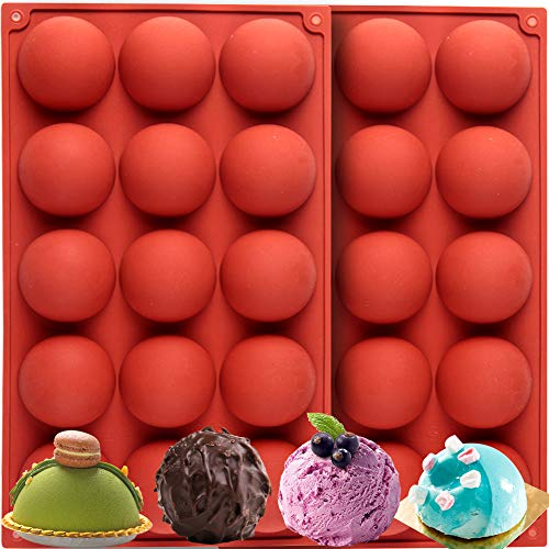Ninesoil 2Pcs silicone sphere mold +1 Pcs Christmas chocolate bomb mold for Baking Round Mold 1 Pcs Christmas Chocolate Mold for Cake,Pudding, Jelly (2pcs+1pcs)