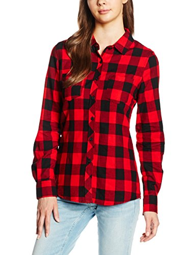 Urban Classics Damen Ladies Turnup Checked Flanell Shirt Hemd , Mehrfarbig (blk/red 44) , L