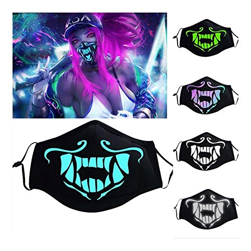 JIAYONG Maske Spiel Akali Maske Assassine S8 Blau Grün Gesichtsmaske Nachtlichter Cosplay Kostüme Prop (Farbe : Multicolor)