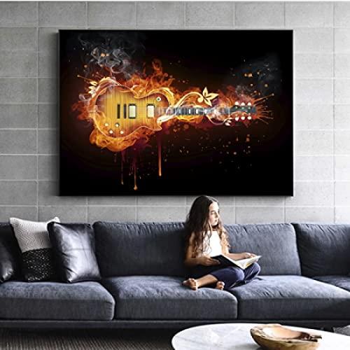 cuadros decoracion lienzowall art Impresión de aceite de guitarra eléctrica en imagen...