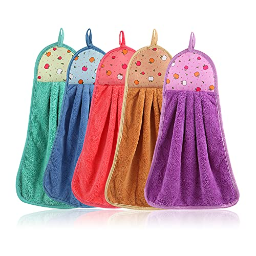 WATASAA 5Pcs Hanging Hand Towels - Premium Quality with Hanging Loop - Soft, Thick Absorbent with Hanging Loop (5 Color of Coral Velvet for Bathroom and Kitchen) (5Pcs)