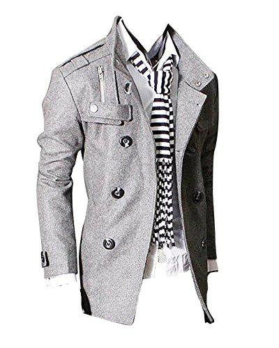 Uomo Classico Giacche Slim Fit Doppio Petto Trench Cappotto Vintage Moda Grigio Chiaro XS