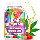 Hemp Jelly Beans for Stress & Anxiety, Premium Hemp Supplement to Reduce Inflammation, Improve Sleep, Boost Mood - 150 Cts