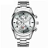HONGXIGUAN Reloj de pulsera de acero negro para hombre, reloj de cuarzo para hombre con calendario impermeable, blanco, acero