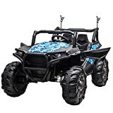 Aosom 12V 2-Seater Kids Electric Ride-On Car Off-Road UTV Truck Toy with Parental Remote Control & 4 Motors, Camo Blue
