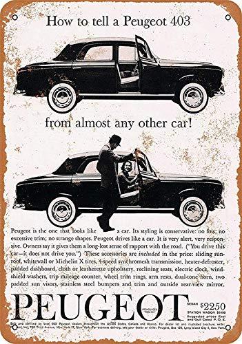 HALEY GAINES Peugeot 403 Car Métal Mur Affiche Vintage Étain Mural Signe Décorative Métallique Panneau Rétro Plaque pour Bar Cafés Cuisines Maison Gar