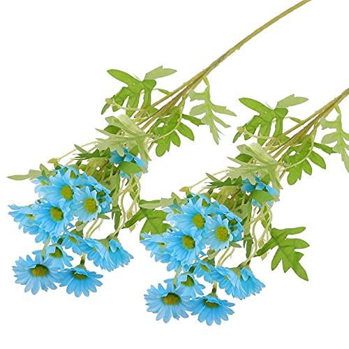 DOITOOL 2 Piezas Ramo de Margaritas Artificiales Tallos de Manzanilla Azul Seda Falsa Floral con Tallos DIY Crisantemo Arreglo Centros de Mesa para San Valentín Boda Jardín Fiesta