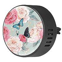 2pcsアロマセラピーディフューザーカーエッセンシャルオイルディフューザーベントクリップ牡丹のバラと蝶