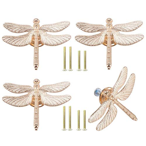 Cucumis 4Pcs Lovely Dragonfly Shaped Cabinet Knobs Animal Pull Single Hole Handle for Door Cabinet Closet Drawer Cupboard Dresser Wardrobe Furniture Kitchen Modern Home Office Gold