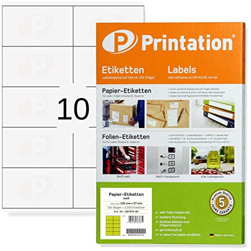 Etichette universali da 105 x 57 mm, autoadesive, bianche, stampabili, 100 fogli A4 da 2 x 5 105 x 57 etichette, 3425 4425 LA161
