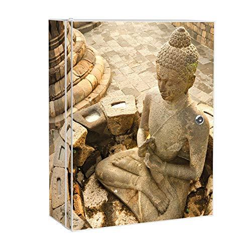 banjado XXL Medizinschrank abschliessbar | großer Arzneischrank 35x46x15cm | Medikamentenschrank aus Metall weiß | Motiv Sitzender Buddha mit 2 Schlüsseln | Gestaltung auf Front und Seiten