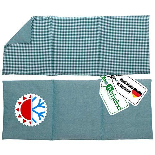 HERBALIND 3-Kammer Wärmekissen Körnerkissen Schulter Nacken 50x20 cm in Karo/petrol - 100% Baumwolle - Getreidekissen mit Bio Roggen- und Weizen Füllung für Mikrowelle - Geschenk für Männer