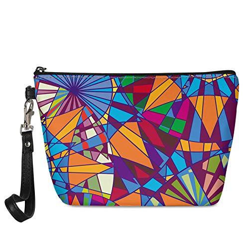 HUGS IDEA Fashion Geometric Mandala PU Leather Makeup Bag Travel Cosmetic Storage Pouch Shopping Casual Clutch Bag
