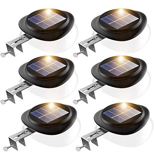 LED Solar Dachrinnenleuchte, KEENZO Solarlampen für Außen, 9LEDs Solarlicht, Auto ON/OFF, Schwarz,Kalt Weiß Licht (6er set)