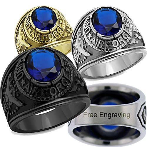 YVO Personalized Air Force Ring - Free Engraving Included - Black - Size 10