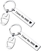 SUNSH 2 Pcs I Love You 3000 Keychain Avengers Keychain Avenger Fan Iron Man Inspire Gift for Men Boys Teen Girls