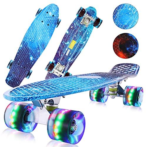streakboard Skateboard Cruiser, Cuscinetti Skateboard 56 cm con Ruote Led Lampeggianti, Mini Cruiser Skateboard con Cuscinetti A Sfera ABEC-7, per Bambini, Giovani, Adulti