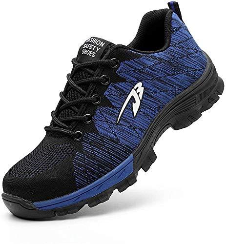 Zapatos de Seguridad Hombre Mujer Zapatillas de Seguridad con Punta de Acero Zapatos de Trabajo Transpirables e Industriales, Azul 42
