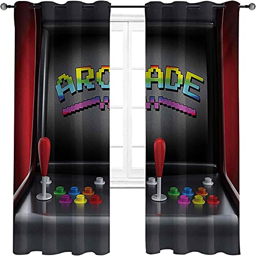 with Grommets blackoutVideo Games Curtain, Arcade Machine Retro Gaming Fun Joystick Buttons Vintage 80s 90s Electronic, for Bedroom, Kindergarten, Living Room W96 x L96 Inch Multicolor