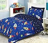 Linen Zone - 100% Natural Cotton - Kids - Children Reversible Complete Bedding Set - 4PC Double bedding set Includes 1 Fitted Bed Sheet 1 Duvet Cover and 2 Pillowcase (Space Explorer, Double Set)
