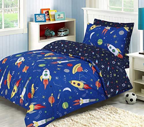 Linen Zone - 100% Natural Cotton - Kids - Childern - Reversible Complete Bedding Set - Includes Duvet Cover, Pillow Case & Fitted Sheet (Space Explorer, Single Set)