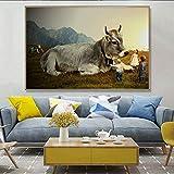 Leinwanddrucke Riesige Kuh mit Kindern Bilder Wandkunst Dekor Homefor Wohnzimmer Poster50x75cmRahmenlose Malerei