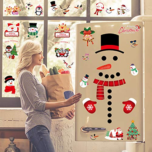 CMTOP 6 Hojas Navidad Pegatina Navidad Muñeco De Nieve Imanes De Nevera PVC Pegatinas Electrostáticas para Puerta de refrigerador Renos árboles de Navidad y muñeco de Nieve