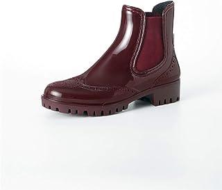 Sponsored Ad - Women Rain Boots Ankle Short Chelsea Rubber Elastic Solid Waterproof Anti-slip Shoes Booties dripdrop ladie...