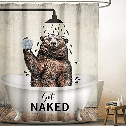 Yookeb Bear Funny Animal Get Naked Bathroom Shower Curtain Brown Cute Bathtub Farmhouse Kids 60W by 71H Inch Polyester Fabric 12 Plastic Hooks Waterproof Decor