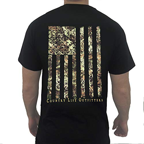 Country Life Outfitters Camo American Flag Black Mens Short Sleeve T-Shirt (Medium)