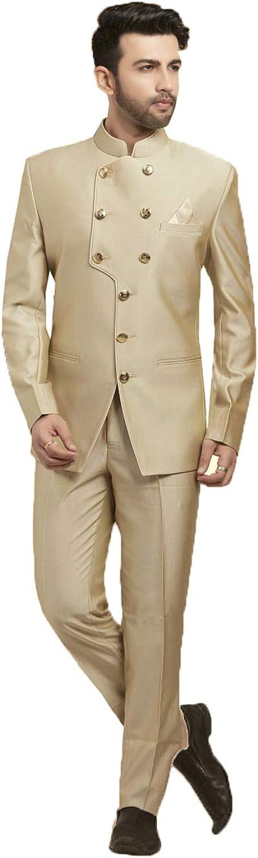 Indian Designer Partywear Traditional Ethnic Beige Mens Jodhpuri Suit. MENS2484-11-38