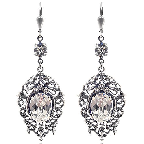 Jugendstil Ohrringe mit Kristalle von Swarovski Silber Crystal NOBEL SCHMUCK