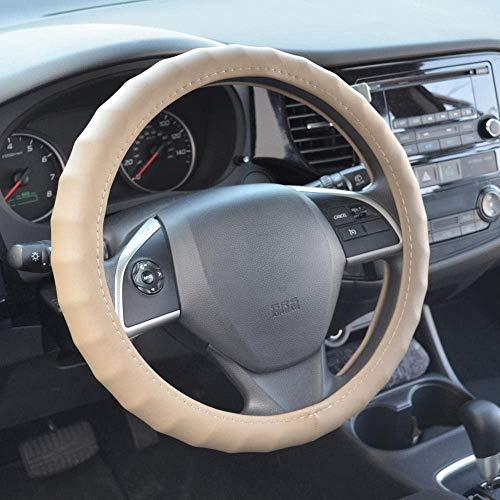 BDK Ergonomic Non-Slip Grip Genuine Leather Car Steering Wheel Cover (Tan-Beige/Small Size 13.5 to 14.5')