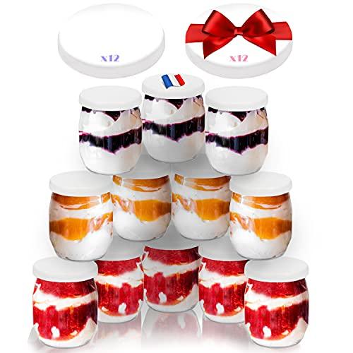 Vasos yogurtera de cristal con 24 tapa pack de 12...