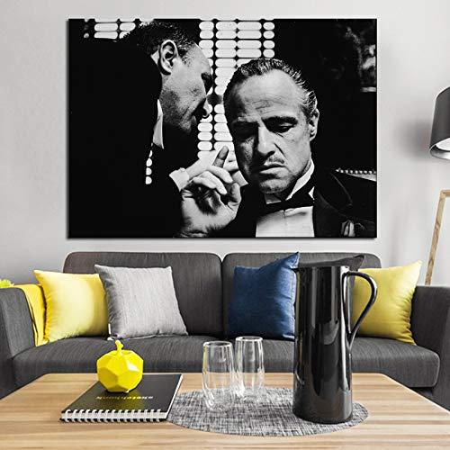 KWzEQ Póster de Padrino en Blanco y Negro y película clásica de Grabado en la Pintura de la decoración de la Pared del Lienzo para la Sala de Estar,Pintura sin Marco,75x112cm