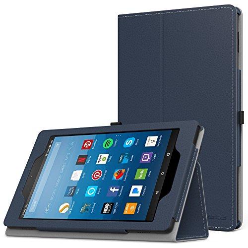 MoKo Hülle für All-New Amazon Fire HD 8 Tablet (7th und 8th Generation – 2017 und 2018 Modell) - Kunstleder Ständer Schutzhülle Smart Cover mit Stift-Schleife, Marineblau