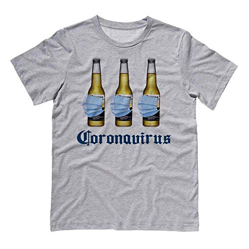 Coronavirus Virus Funny Beer Drinking Shirt Unisex Large Grey