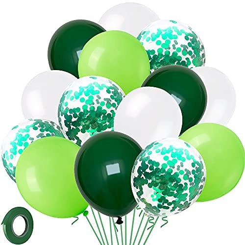 Green and White Balloon Set - 60 Pcs Party Balloons - Green Confetti Balloons for Kids Birthday Party - Strong Latex Balloon Pack for Baby Shower, Jungle Party Decoration - 12 Inch Balloons with 33ft Ribbon