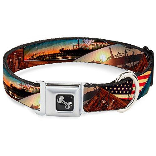 Buckle Down 45,7–81,3cm Surfbrett Cali Szenen/US Flagge gestapelt braun Halsband Bone, breit groß