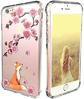 iPhone 6 Plus Case,iPhone 6s Plus Case, Ftonglogy Floral Flower Pattern Printed Clear Design Transparent Hard Back Air Cushion Shockproof TPU Bumper Protective Cover for Girls (fox cherry blossoms)