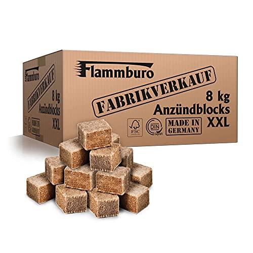 FLAMMBURO (8 kg Ökologische XXL Anzündwürfel vom Deutschen Hersteller, Grillanzünder, Kaminanzünder, Ofenanzünder, Anzündwürfel, Anzündwolle - DIN zertifizierte Qualität Made in Germany - (8 kg)