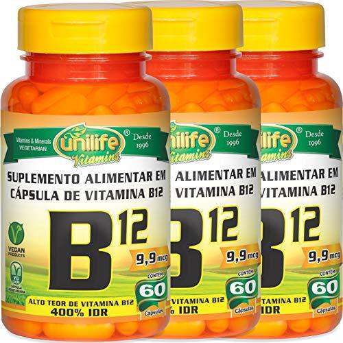 Kit com 3 Frascos de Vitamina B12 Cianocobalamina Unilife 60 Capsulas 450mg