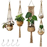 Mkono Macrame Plant Hangers Set of 4 Indoor Wall Hanging Planter Jute Basket Decorative Flower Pot Holder with 4 Hooks for Indoor Outdoor Home Decor Gift Box, Brown, Medium