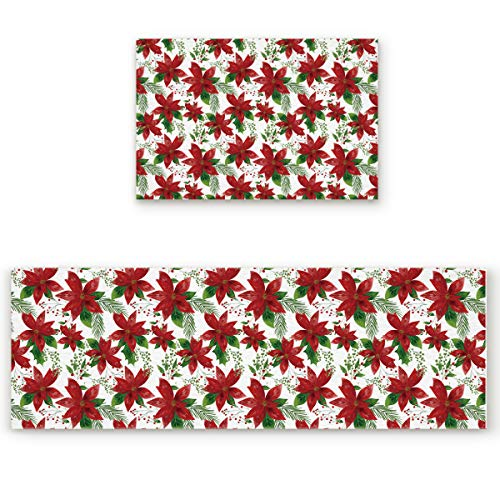 Funy Decor Kitchen Mats and Rugs Sets Merry Christmas Red Poinsettia Flower Green Leaves 2 Piece Non-Slip Area Runner Carpet Set Bathroom Mats Shower Rugs Indoor Floor Mats 19.7x31.5in+19.7x63in