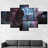 Lienzo impreso 5 piezas arte moderno anime chica en lluvia con paraguas pinturas en pared arte arte sala decoración de pared decoración del hogar 150 x 80 cm