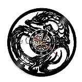CVG 1 Pieza Dungeon Master Dragon Iluminación LED Arte de la Pared Tatuaje Tribal Arte de la Pared Decoración de la habitación para Adolescentes Reloj de Registro de Vinilo Reloj Decorativo