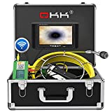 Sewer Camera,OKK Wireless WiFi Drain Pipe Inspection Camera for Android/iOS, Pipeline Endoscope with 7''HD Monitor 1000TVL Color Screen Equipment IP68 Waterproof Industrial Plumbing Borescope(165ft)