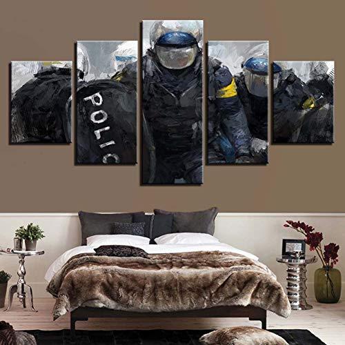 LPHMMD 5 schilderijen van canvas, HD-druk, decoratie voor thuis, 5 stuks, kunst van de muur, afbeeldingen van de politie, canvas, nachtkastje, achtergrond