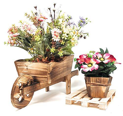 Pack » Macetero Decorativo Carretilla + Salvamantel Estilo Palets de Madera + Macetero de Madera (Carretilla + Palets)