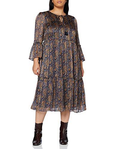 YUMI Navy Paisley Print Smocked Dress Vestito Casual, Blu, 40 Donna